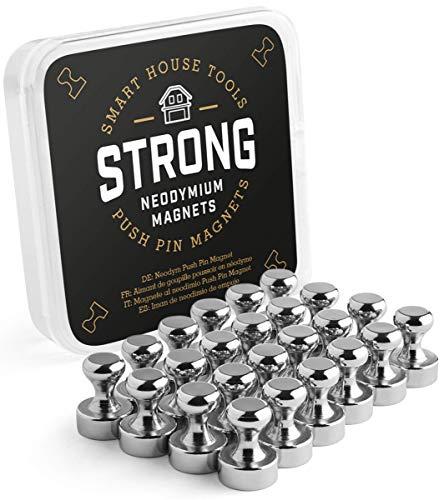 24 Neodym Kegel-Magnete Ø 12x16 mm, (24 Stück) starke Push-Pin Magnete für Kühlschrank, Magnet-Tafel, Whiteboard u.v.m. - Eisen-box-board