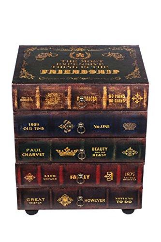 36 Cm Breit 5 Schubladen (Kleinmöbel, HY1G018 Kommode, schweres Regal im Buchlook, Teeschrank, Holz Telefontisch, Kommode, jedes Buch ist eine Schublade, 5 Schubladen, Flurkommode, Tisch, im Vintage Shaby Look, Antikoptik, Holz, Maritim, Deko, Hochwertig, 54 cm hoch 36 cm tief und 45 cm breit)