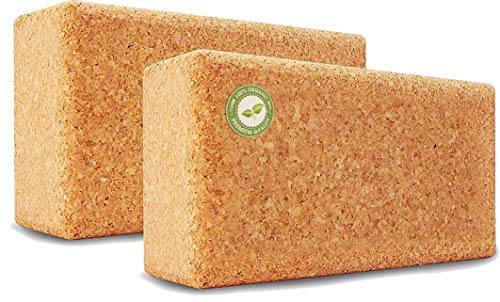 Yoga Block Kork - 100% Natur 22,5 x 12 x 7,5 - Hatha Klotz für...