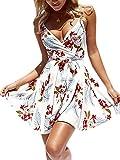 ECOWISH Damen Kleid Sommerkleid V-Ausschnitt Ärmellos Blumendruck Spaghetti Strap Mini Swing Strandkleid Mit Gürtel Weiß XL