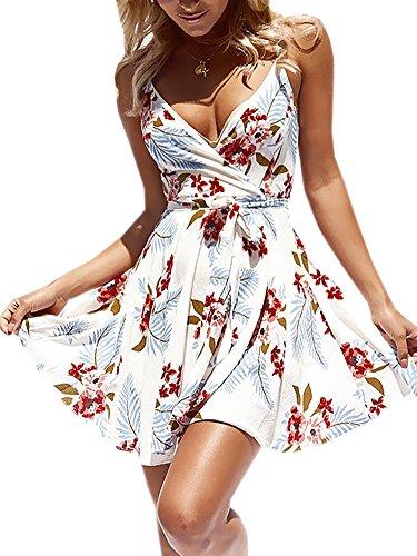 Sommerkleid V-Ausschnitt Ärmellos Blumendruck Spaghetti Strap Mini Swing Strandkleid Mit Gürtel Weiß S ()