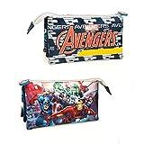 Marvel Avengers 61221 Astuccio bustina, 3 Scomparti, Poliestere, Multicolore, Hulk, Thor, Captain America, Iron Man