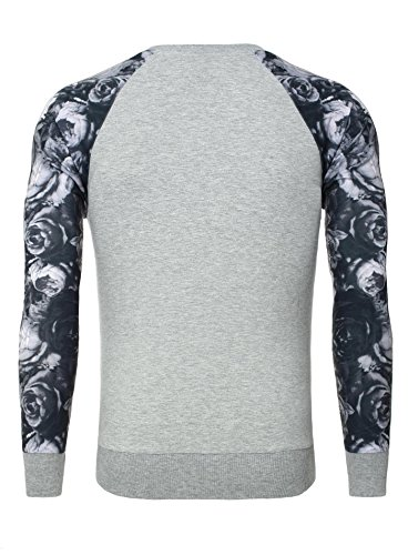 Carisma Herren Pullover FLOWER Sweatshirt Langarm Print Flower Blumen Muster mit Brusttasche Grau