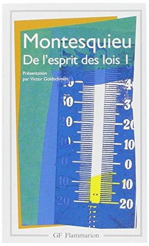 De l'Esprit DES Lois 1 by Montesquieu (1980-04-01)