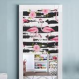 NACHEN Flamingo Baumwolle Leinen Tür Vorhänge HD Digitaldruck Studie Partition Veranda Halbvorhang Für Wohnzimmer Schlafzimmer Hause, Color 1, 85x120cm