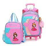 Little Princess Trolley Rucksack Pupillen 1-3-6 Grade 6 Runde süße Cartoon mit Puppen, abnehmbar,...