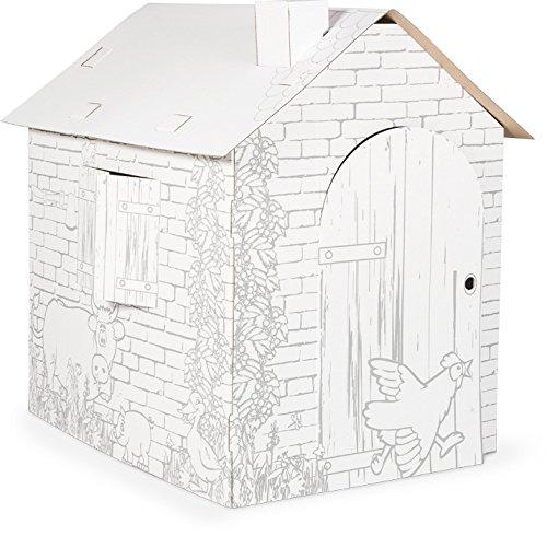 Preisvergleich Produktbild Spielhaus aus Bastelkarton,  Papphaus mit Bauernhof-Tiermotiven,  individuell mit Wachsmal-,  Filz- und Buntstiften gestalten,  ab 3 Jahre