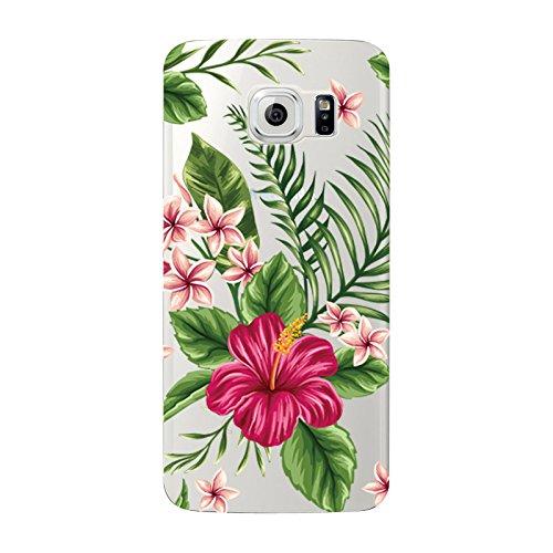 Samsung Galaxy S6- NOVAGO Coque gel souple avec impression fantaisie (Bouquet Exotique)
