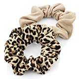 Pair of Brown Plain and Brown Animal Print Jersey Hair Scrunchies Bobbles Elastic Hair Bands by Pritties Accessories
