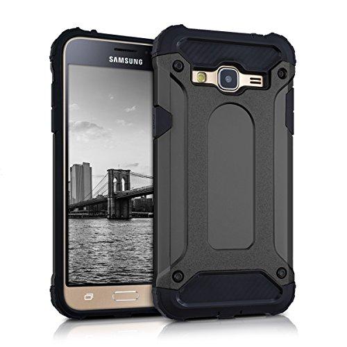 kwmobile Hybrid Outdoor Hülle für > Samsung Galaxy J3 (2016) DUOS < mit Transformer Design - Dual TPU Silikon Hard Case Handy Hard Cover in Anthrazit Schwarz