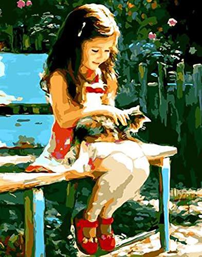 Liliya& Nettes Mädchen und Katze DIY Malerei der digitalen modernen Wand Künstler Residenz Dekoration handgemalte Ölfarbe auf Leinwand rahmenlose (40 * 50 cm)