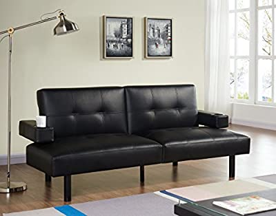 Modern 3 Seater Sofa Bed with Adjustable Cup Holder Arms Comes in BLACK Faux Leather produced by Unmatchable - quick delivery from UK.