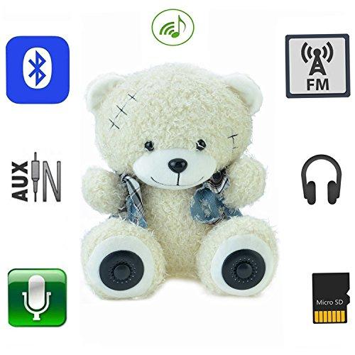 QTMY Multifunktional Teddy Bär Plüsch Bluetooth-Lautsprecher 30 cm Kinder Spielzeug Kabellose Micro SD Speicherkarte Stereo-Lautsprecher FM Radio Akku (Der Geschichte Teddy Die Bären)