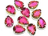 EIMASS - Exquisitos cristales de múltiples formas para unir con pegamento, acabados en punta, con marco plateado, Hot Pink Teardrop, 10 x 14 mm