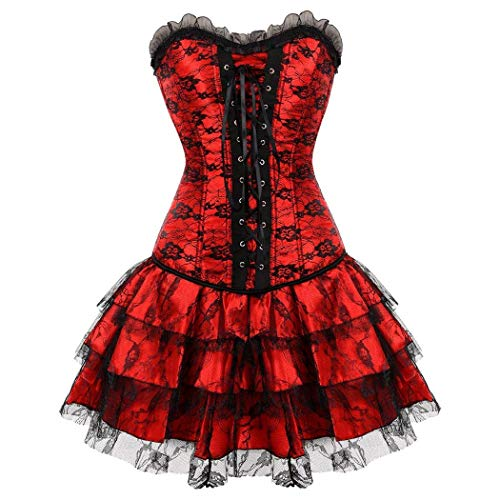 BOLAWOO-77 Women S Black Trim Ruffle Satin Halloween Dress Corset Lace Mini Tutu Skirt Set for Moulin Rouge Showgirl Clubwear (Color : Rot-Rot, Size : W83-88cm/2XL) - Lace Ruffle Korsett Bustier