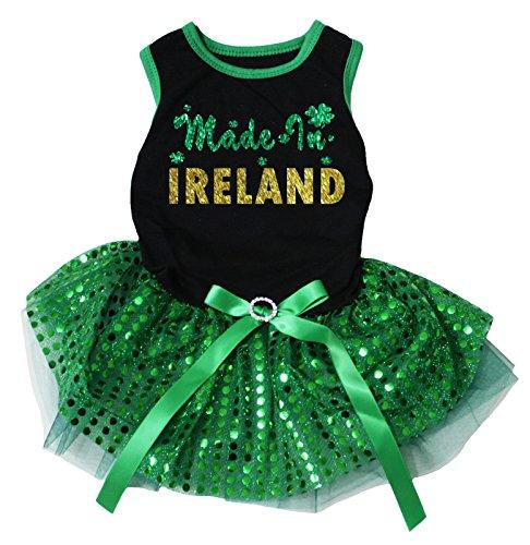 Petitebelle Hunde, Welpen Kleidung, Kleid, hergestellt in Irland, Schwarz-Grün, Tutu (Kostüme Für Hunde In Irland)