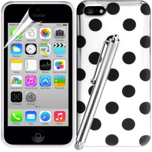 Gadget Giant Étui à rabat en gel Housse étui coque en caoutchouc et film protecteur d'écran LCD et micro fibre spécial écran tactile Stylet pour iPhone 5C–