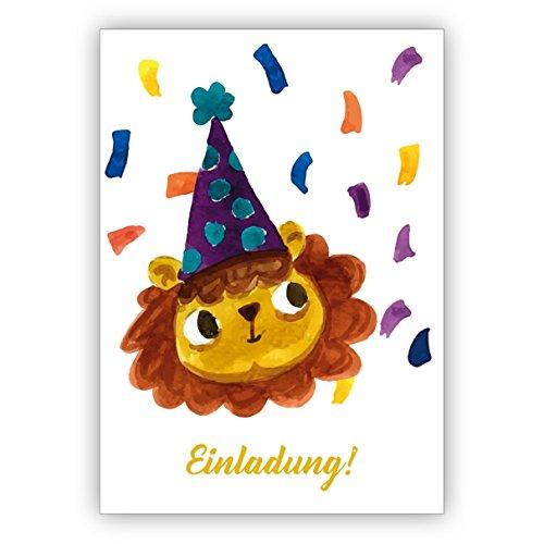 Grußkarten Set (10Stk) Freche gemalte Einladungskarte mit Party Schwein zum Übertritt, Einschulung, Geburtstag und was es noch zu feiern gibt: Einladung - auch für Firmen Kunden und Geschäftspartner