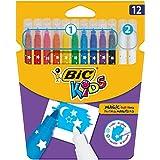 BIC Kids Zauberstifte Colour & Erase – Auswaschbare Filzstifte mit Zauber-Effekten zum Malen & Fehler korrigieren – 10 Zauber Stifte & 2 Löschstifte