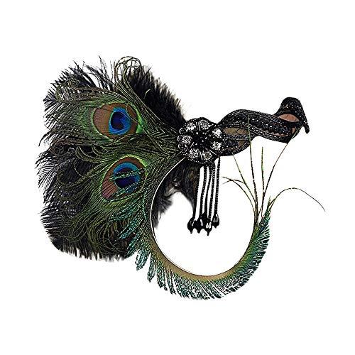 COZOCO 2019 Einfaches und nützliches Stirnband 1920er Jahre Headpiece Feather Flapper Stirnband Great Gatsby Kopfschmuck Vintage Grün Freie Größe (Für Kostüme Damen Beliebte Halloween 2019)
