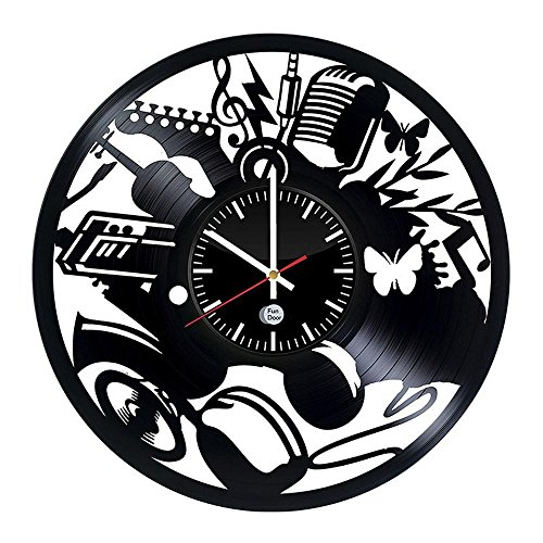 Luziang Vinyl Record Wanduhr Kreative hohl Musical Instrument Muster Black Gum datensatzpinnwand Uhr Retro-handgemachte Vinyl klassische Mode home Decorat Ionen-Uhr Größe: 30cm, passend für: Wohnzimmer, Schlafzimmer, Studie, Büro, etc. (Ionen-records)