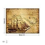 Sepia Schiff Alte Karte Vintage Leinwand Bilder (PP145O1FW)