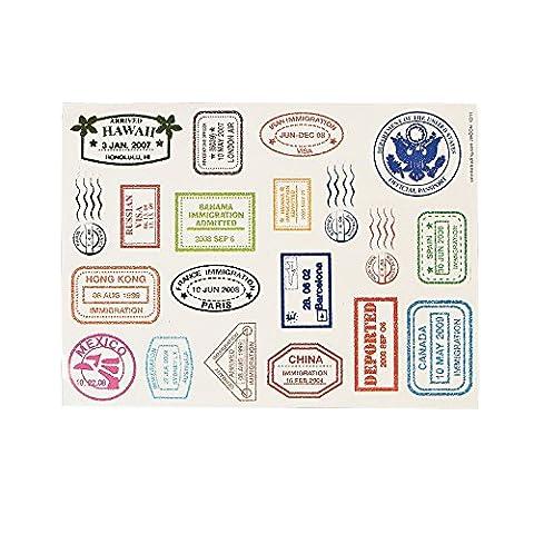 Feuilles Sticker autocollant Passeport Tampon (480autocollants) par Fun express