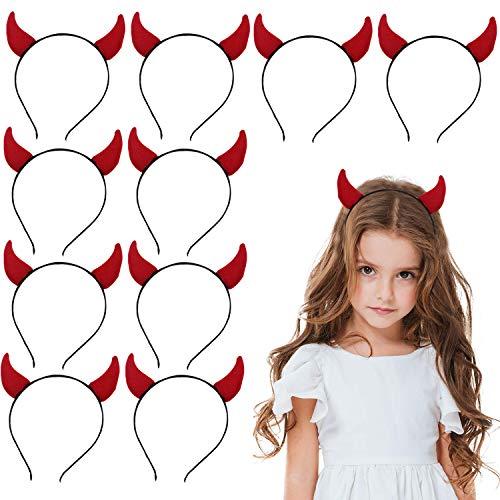 Bigbigjk 10 Stück Halloween Haarband ,Teufelshörner Haarband Stirnband Stirnband Damen, Halloween Deko Party Stirnband Cosplay Hair Hoop Party Headpiece Stirnband für Kinder und Täglichen Zubehör (Sie Teufel Kostüm Zubehör)