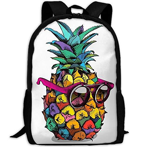 Mossey Raymond Casual Lightweight School Travel Hiking Backpack Daypack - Pineapple Wear Glassess White