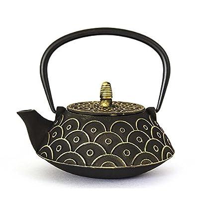 Sens Original - Théière fonte noire avec écaille dorée - noir - 80cl