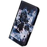 Herbests Kompatibel mit Huawei P Smart 2019 Handy Hülle Tasche Leder Handy Schutzhülle 3D Retro Bunt Muster Tasche Leder Flip Case Cover Lederhülle Magnet Kartenfach Handytasche,Zauberer