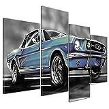 Bilderdepot24 Kunstdruck - Mustang Graphic - blau - Bild auf Leinwand - 120x80 cm 4 teilig - Leinwandbilder - Bilder als Leinwanddruck - Wandbild