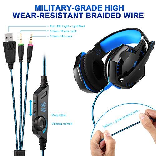 Gaming Kopfhörer für PS 4 PC Computer Professioneller 3,5mm Gaming Headset Stereo Sound Mikrofon mit Rauschunterdrückung und Lautstärkeregler Egonomisches Design, geringes Gewicht (Blau) - 3