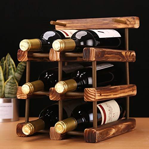 3-stufiges stapelbares Weinregal -Faltbarer Holz-Arbeitsplattenschrank Weinhalter Ablagekeller- Freistehend - Perfekt für Bar, Weinkeller, Keller, Schrank, Speisekammer usw. - Halten Sie 6 Flaschen, H -