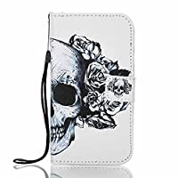 Galaxy J5 Prime Wallet Case, Galaxy On5 Case (2016 Version Only), ESSTORE-EU with Flip/Stand/Credit Card Holder/Magnetic Closure/TPU Bumper/360 Full Body Protection for Samsung Galaxy On5 (2016) / J5 Prime 5.0 inch, Skeleton