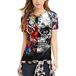 Camisetas Mujer Verano Manga Corta Cuello Redondo Slim Fit Camiseta Basic Ropa Hippies Moda Divertidas Tigre Splice Calavera Impresión Unisex Hombre Mujeres T-Shirt Ropa (Color : Negro, Size : M)