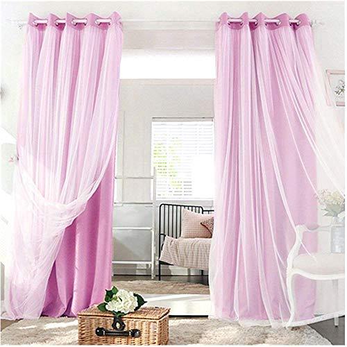 Tenda soggiorno e romantico tulle bianco tenda finestra screening 1 pezzi oscuranti termiche isolanti con occhielli per casa moderna camera da letto,140x245cm,rosso chiaro