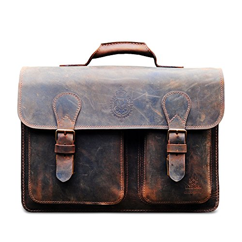 Best Saving for MANNA Leather Laptop Bag for new MacBook 12″, Macbook Pro Retina 13″ and MacBook Air 11″ | Briefcase Messenger Teacher Business Bag Size M | Handmade in Germany | Nubuck Leather | Vintage Brown Special