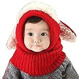 Internet garçons filles bébé Cagoule en laine chaude écharpe Casquettes Chapeaux Automne-hiver (Rouge)