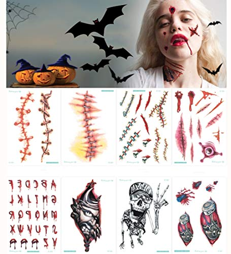 hello rosa 22 Blatt-Halloween-Tätowierung-Aufkleber,lustiges Geist-Blutendes Wundauge-Herz-Tanz-Party-Dekoration (Blutendes Herz)