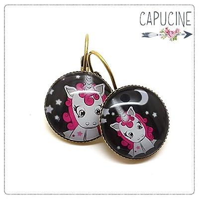 Boucles d'oreilles licornes rose avec cabochon verre - Boucles d'oreilles dormeuses licornes - Licorne aux Étoiles - idée cadeau de Noël, cadeau d'anniversaire, cadeau de Saint Valentin