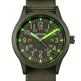 Infantry Herren Analoges Quarzwerk Armbanduhr Grün Sportuhr Outdoor Armee Militär Style Nylon Armband