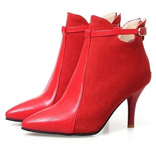Oaleen Bottines fourrées femme talon haut bi-matière aspect cuir chaussures boots hiver Rouge