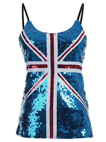 Anna-Kaci Frauen Union Jack Flagge Bingeling Pailletten Slim verstellbare Spaghetti Strap Tank Top (Metallic Knit Top)