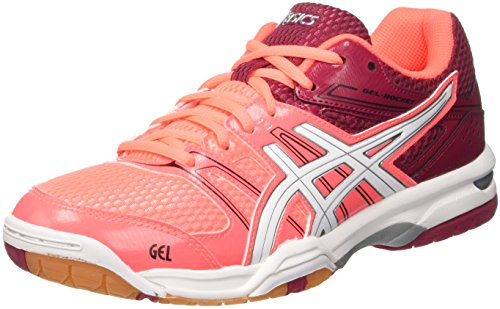 Asics Gel-Rocket 7, Scarpe da Pallavolo Donna, Multicolore (Flash Coral/White/Cerise), 39 1/2