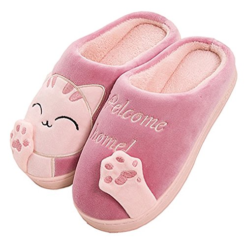 JACKSHIBO Herren Hausschuhe, Warme Plüsch Hausschuhe Indoor rutschfeste Slippers Cartoon Cat Pantoffeln Für Damen, Rot, 36/37 EU