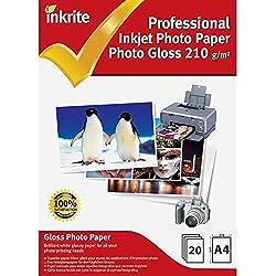 Inkrite photoplus professionnel Papier Photo Brillant 210G/M² A4(20feuilles)