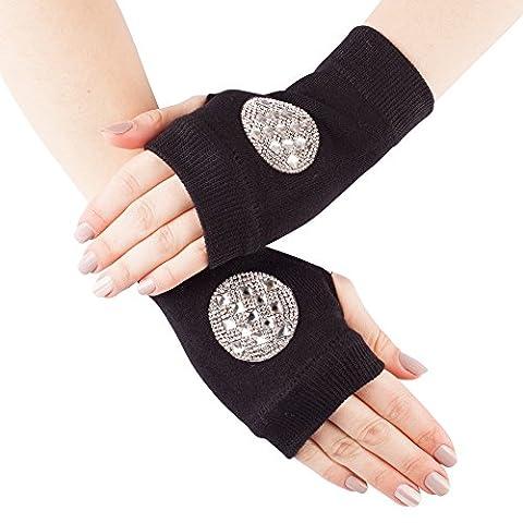 GLV148-Black Fingerless Stretch Knit Gloves with Diamante Circle Design