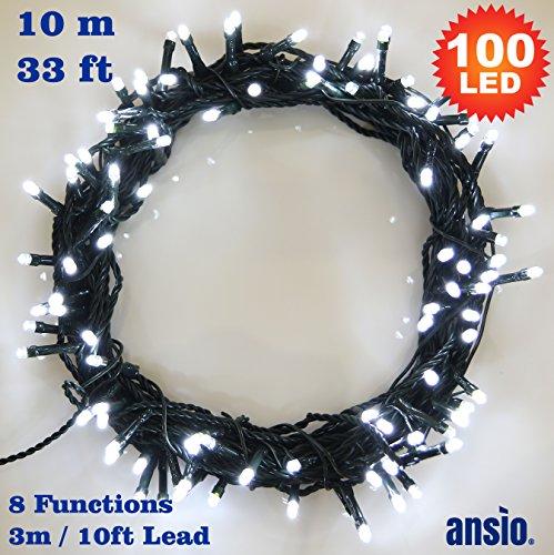 Lichterkette 100 Weiss betriebene LED feenhafte Lichter Ideal für Weihnachtsbaum, festliche, Hochzeits / Geburtstagsfeier Dekorationen LED Schnur Lichter - Grüne Kabel - Innen- und Außenbereich -10M (Verkauf Dekorationen)