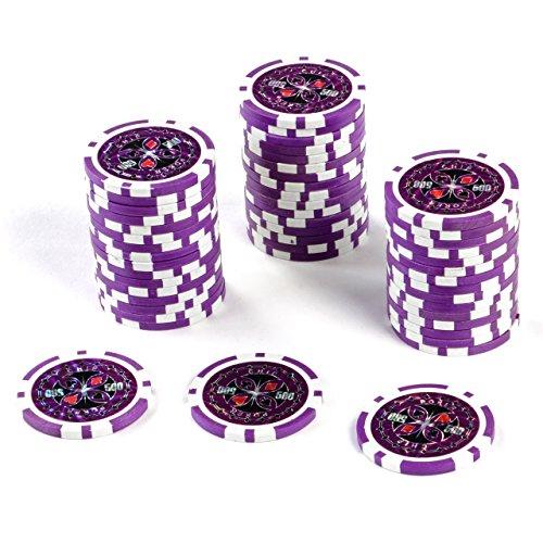 50 Poker-Chips Laser-Chips Wert 500 - 12g Metallkern Poker Texas Hold`em Black Jack Roulette – lila – reflektierend